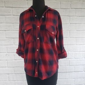 Zara basic red and navy pearl button up shirt